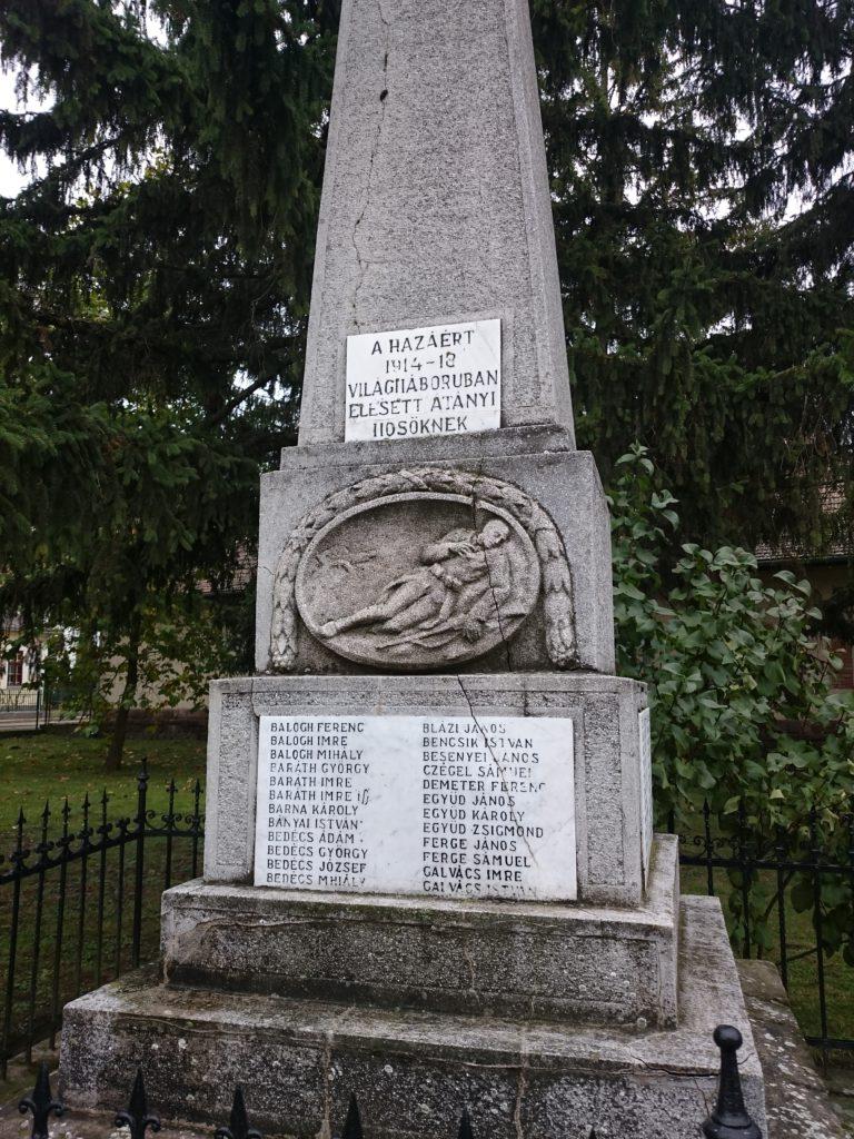 Ezt az emlékművet Átány Község lakossága állíttatta azon átányi hősök emlékére, akik a hazáért életüket adták az I. világháborúban.